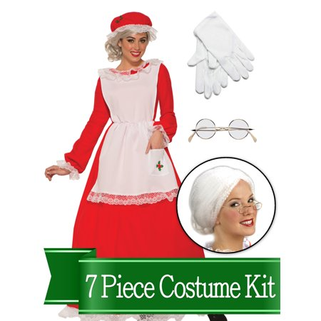 Mrs Claus Traditional Womens Complete Costume Kit - - Traditional Mrs Claus Costume
