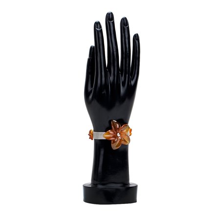 Genuine Carnelian Flower On Metal Mesh Chain Belt Bracelet By Gempro