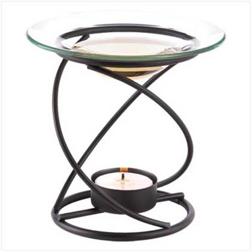 Sunrise Wholesale 12492 Spiral Oil Warmer with Tealight Candle Holder Metal Glass
