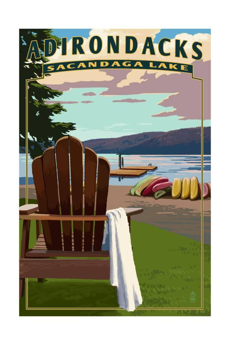 Adirondack Mountains, New York Sacandaga Lake Adirondack Chair Print By Lantern Press by Art.com
