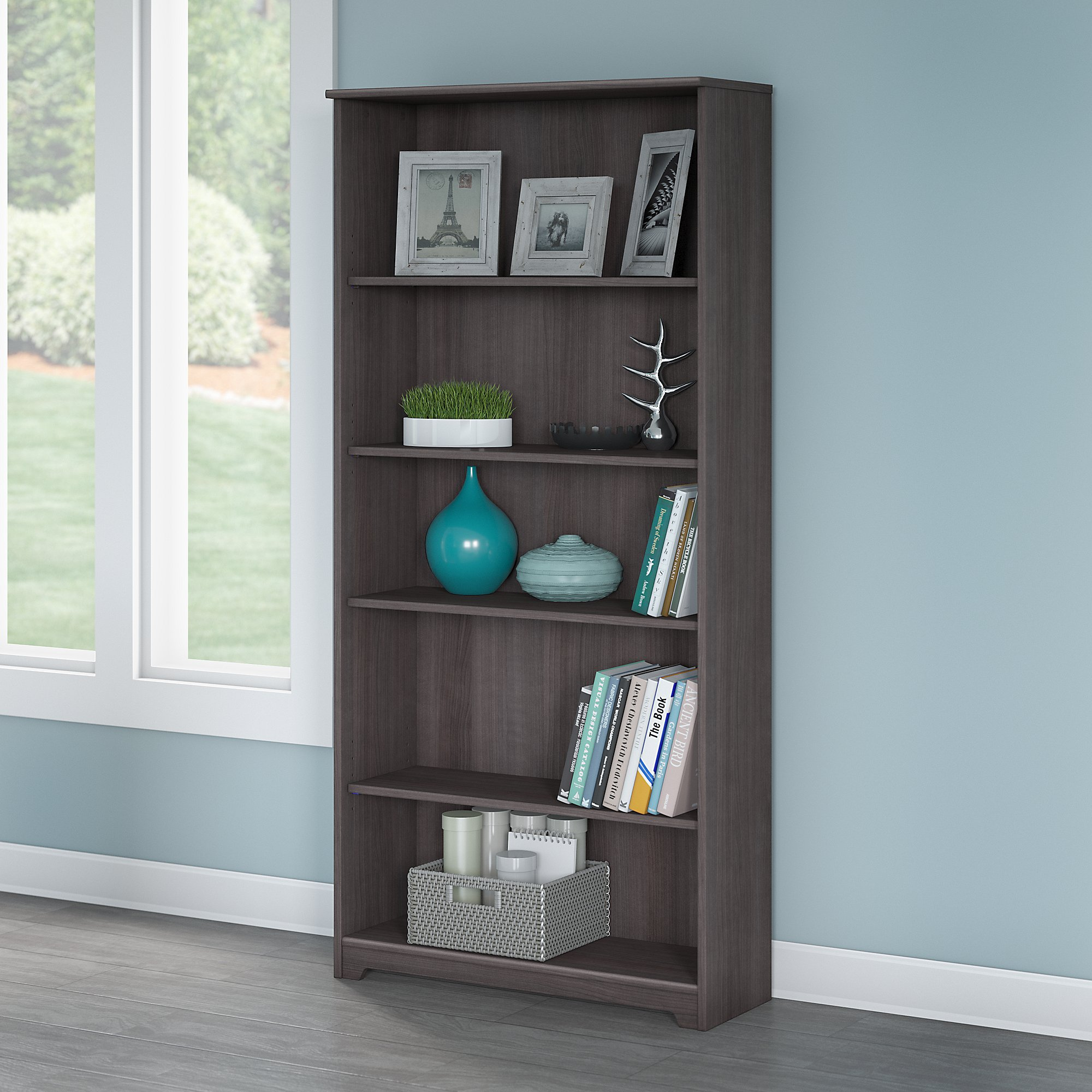 Bush Furniture Cabot 5 Shelf Bookcase in Heather Gray