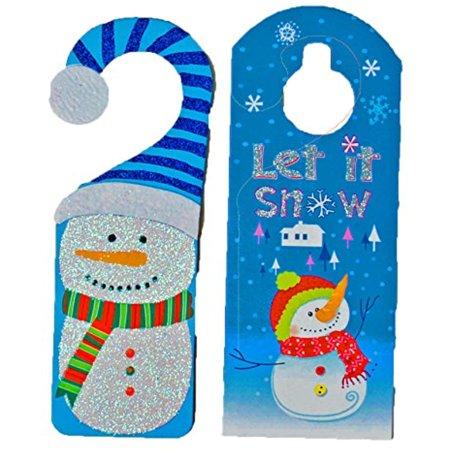 Set of 2 Blue Black Duck Brand Christmas Holiday Door Hangers -Santa, Snowman, Penguin, Gingerbread Man Designs (Blue)