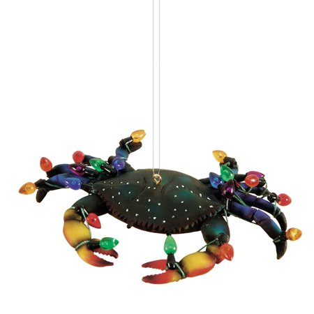 Whimsical Blue Crab Decorated for Holiday Christmas Tree Ornament - Whimsical Trees
