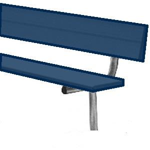 Powder-Coated In-Ground Player's Benches With Back-Color:Navy Blue,Length:21'