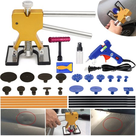 Auto Body Paintless Dent Repair Tool, Car Dent Puller with Dent Lifter, Glue Puller Tabs for Car Dent Removal, Door Dings and Hail Damage Repair, Larger/Small Dent Removal