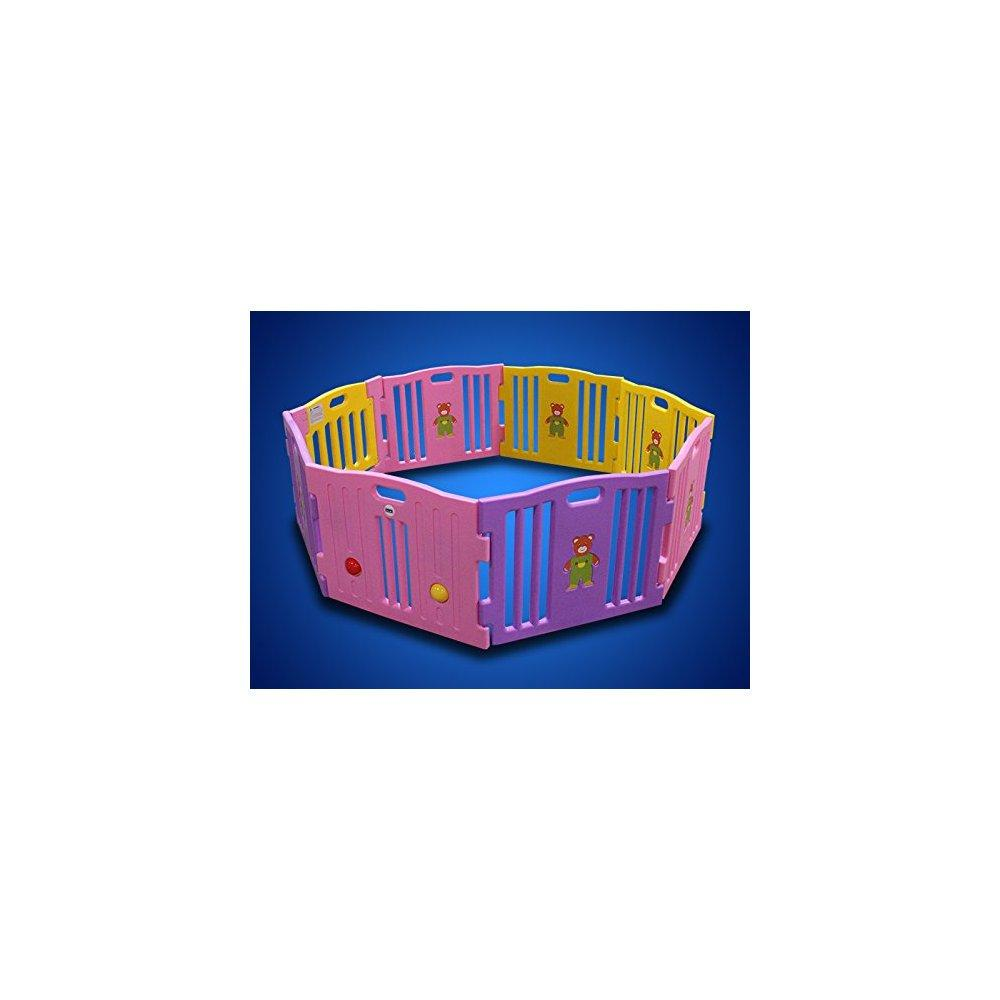 new pink 8 panel baby playpen kids safety play center yar...
