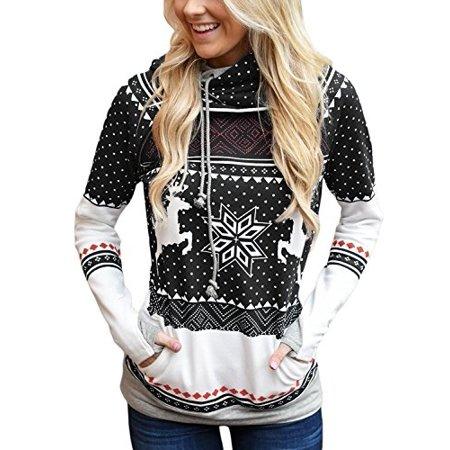 Women Long Sleeve Reindeer Printed Double Hooded Christmas Sweatshirt Casual Pullover Hoodie