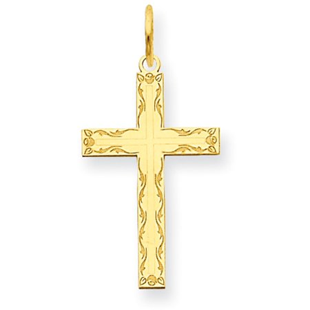 14k Yellow Gold Laser Designed Cross Charm - Design Gold Laser Charm