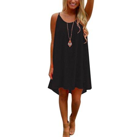 Plus Size S-3XL Women Sleeveless Strap Loose Asymmetrical Hem Mini Dress Sexy with Hollow out Design Summer Mini
