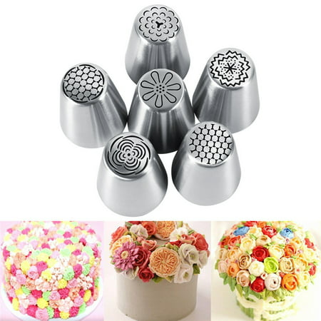 WALFRONT Russian Piping Tips Set 6Pcs/Set Cake Decorating Supplies Tips Kits Stainless Steel Baking Supplies Icing Tips for Cupcake Cookies Cake