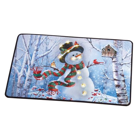 Winter Christmas Decor - Lighted LED Festive Winter Snowman and Birds Scene Christmas Rug - Holiday Decor for Any Room in Home