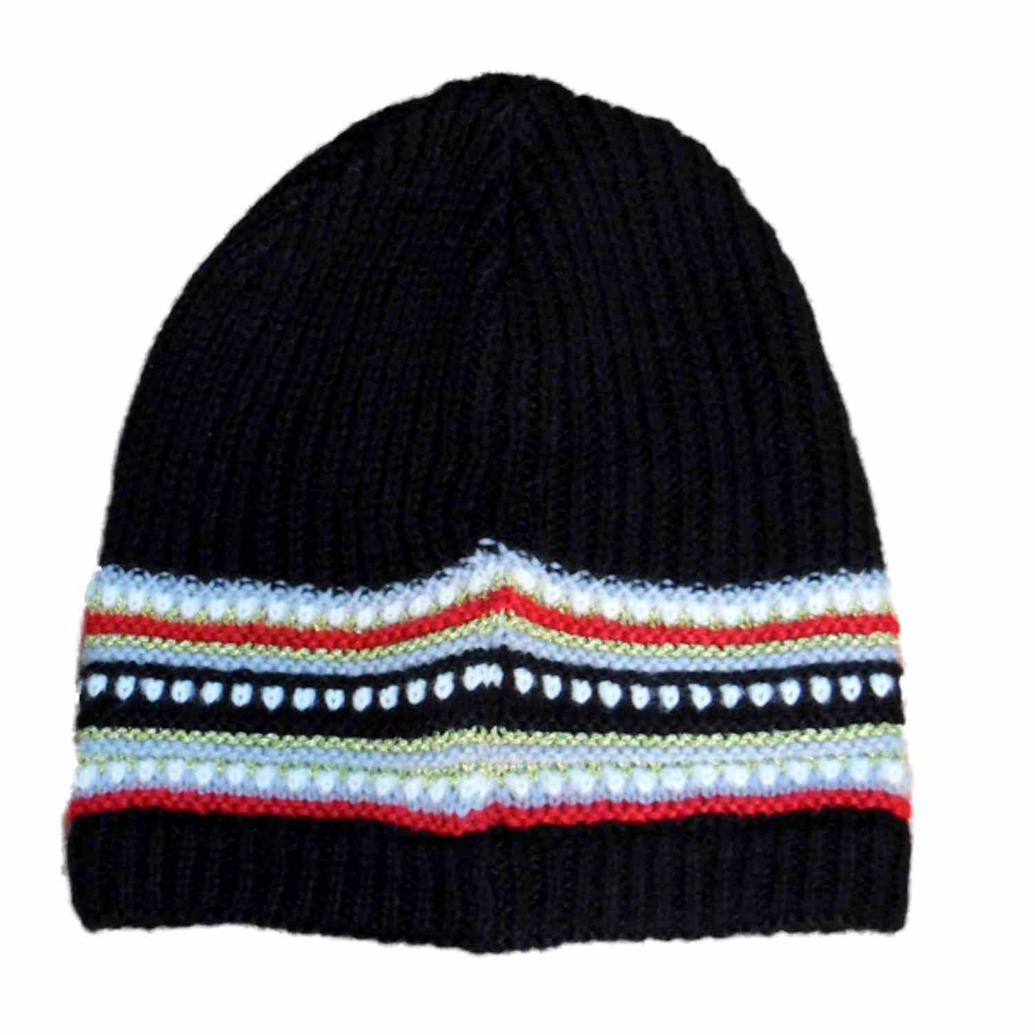 Fownes Womens Black & Red Stripe Knit Beanie Winter Stocking Cap Hat