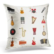 ARHOME Sticker Music Musical Instruments Flat Violin Banjo Piano Harmonic Pictogram Pillow Case Cushion Cover 18x18 Inches