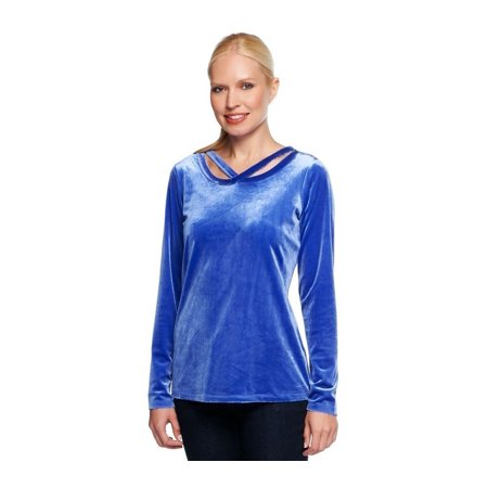 Liz Claiborne NY Knit Velvet Top Cut-out A237799