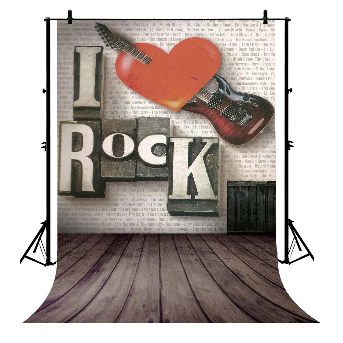 GCKG 7x5ft Rock Music Red Hearts Retro Dark Wood Floor Polyester  Photography Backdrop Photography Props Studio Photo Booth Props