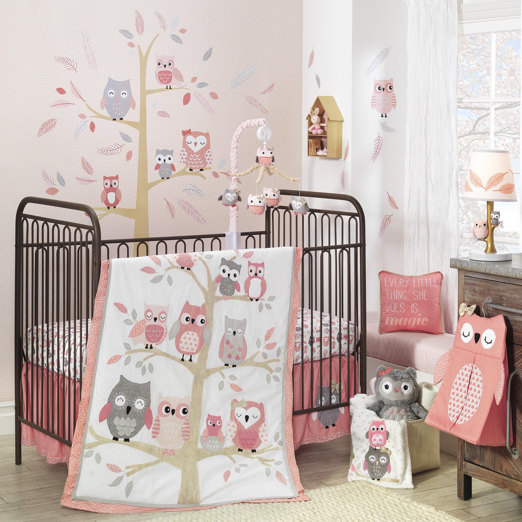 Lambs & Ivy Family Tree Pink/Gray Owl 6-Piece Nursery Baby ...