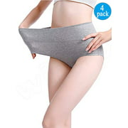 LELINTA Women's Best Fitting Panties Briefs 4 Pack, Soft Cotton High Waist Breathable Solid Color Brief Seamless Panties for Women Plus Size