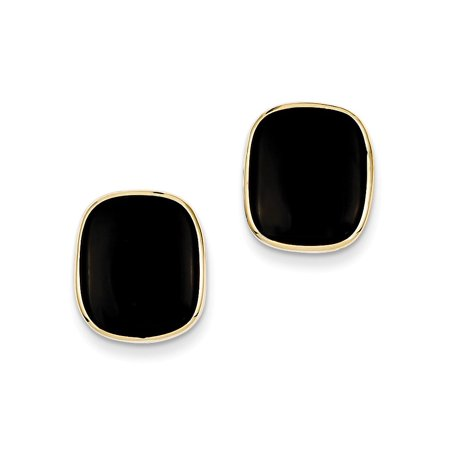 14k Yellow Gold Black Onyx Stud Earrings