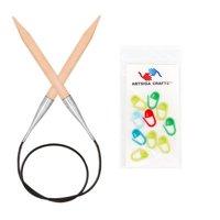 Knitter's Pride Knitting Needles Basix Single Point 14-inch (35cm) Knitting Needles Bundle with 10 Artsiga Crafts Stitch Markers