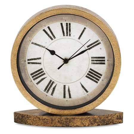 McCoy Round Shape Table Clock in Brass