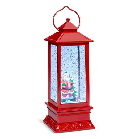 Best Choice Products Pre-Lit Battery Operated Glitter Snow Globe Christmas Lantern Holiday Decoration w/ Santa (Best Friend Snow Globe)