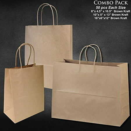 Combo Pack of Brown Kraft Bags - Three Different Sizes (50 pieces) - Brown Paper Bags With Handles