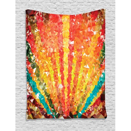 Elegant Tapestry Wall Hanging Pop Art Diamond Sun Rays Beams Shady Stripes Nature Rainbow Design Groovy Graphic, Bedroom Living Room Dorm, Orange Red, by (Shady Rays)
