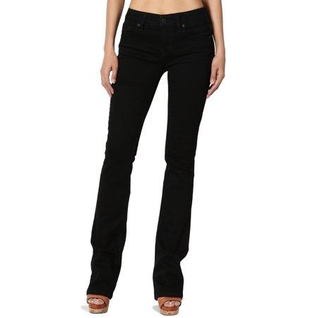 TheMogan Women's Rayon Blend Soft Stretch Denim Mid Rise Slim Fit Bootcut Jeans (Stretch Rayon Blend)