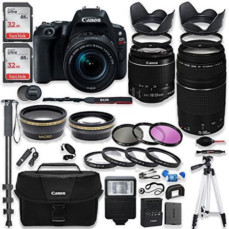 "Canon EOS Rebel SL2 DSLR Camera with Canon 18-55mm IS STM Lens & 75-300mm III Lens Kit + Canon Case + 64GB Memory + Filters + Macros + Monopod + 50"" Tripod + Professional DSLR Bundle"