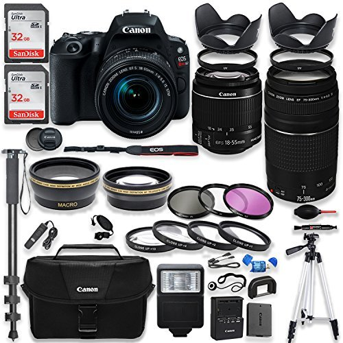 """Canon EOS Rebel SL2 DSLR Camera with Canon 18-55mm IS STM Lens & 75-300mm III Lens Kit + Canon Case + 64GB Memory + Filters + Macros + Monopod + 50"""" Tripod + Professional DSLR Bundle"""