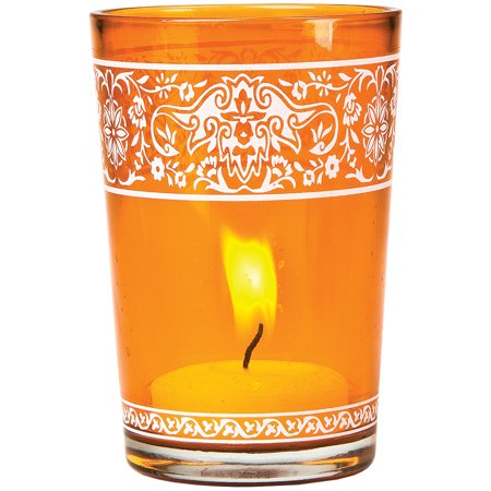 Painted Glass Candle Holder (3.25-Inch, Aliz Banded Design, Mango Orange) - For Use with Tea Lights - For Home Decor, Parties, and Wedding Decorations (Used Wedding Items)