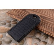 5000 mah Dual-USB Waterproof Solar Power Bank Battery Charger for Cell Phone(Black)