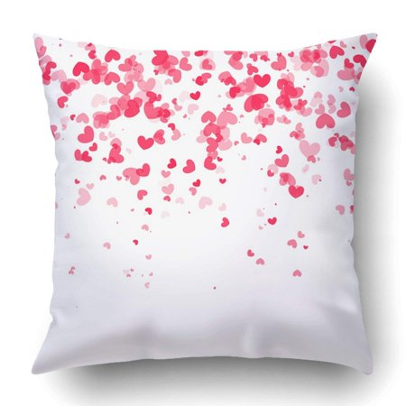 BPBOP Pink Day Falling Hearts White Backgound Purple Confetti Love Valentine Sparkle Pillowcase Cover Cushion 18x18 inch
