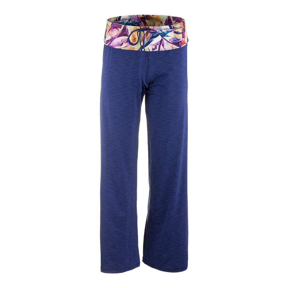 Eleven Paris Women`s Cooldown Tennis Pant Navy Blue and Prism Print