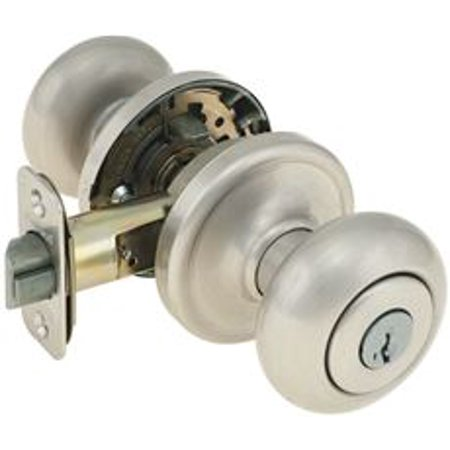 Knob Set Storeroom Lock (Kwikset Smartkey Hancock Storeroom Lock, Satin Nickel )