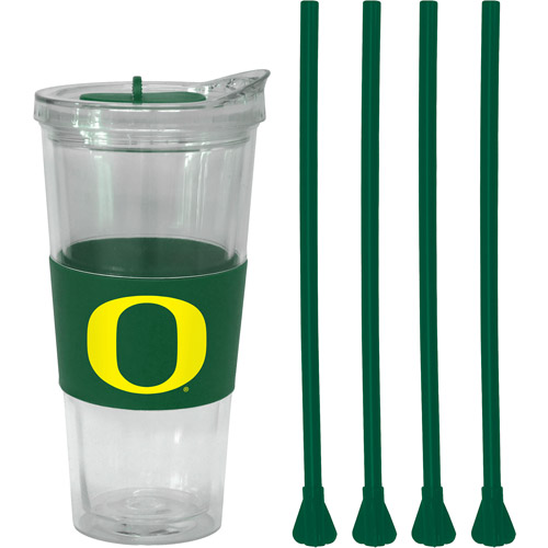 22oz NCAA Oregon Ducks Slider Top Tumbler with 4 Colored Replacement Straws