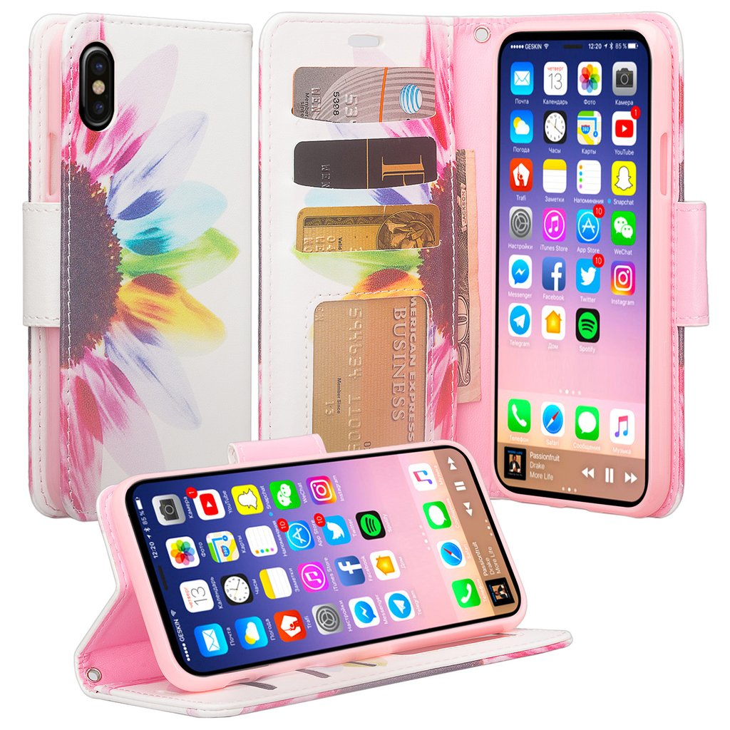 Apple iPhone X Case, Glitter Faux Leather Flip Credit Card Holder Wrist Strap Protective Purse Wallet Case Clutch for iPhone X - (Rose Gold)