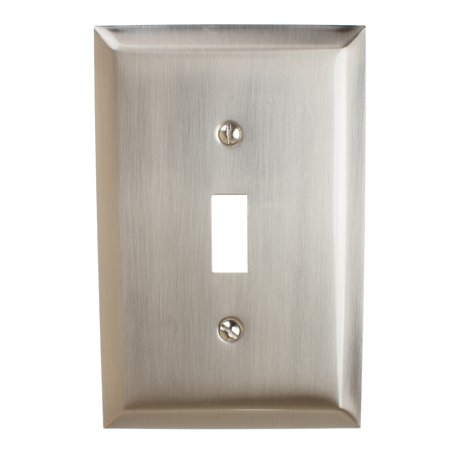GlideRite Hardware Single Toggle Light Switch 1-Gang Wall Plate Cover, Brushed Nickel