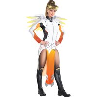 Party City Overwatch Mercy Costume for Adults, Includes a Catsuit with Panels, a Gold Halo Headband, and Wings