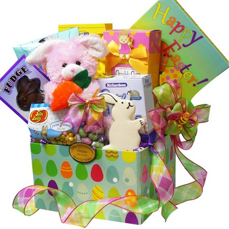 Easter Bunny Care Package Gift Box Of Chocolate And Candy Treats Pink Purple