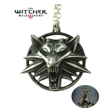 Witcher Necklace Pendant - Silver Wolf Head - Video Games Cosplay Jewelry by Superheroes