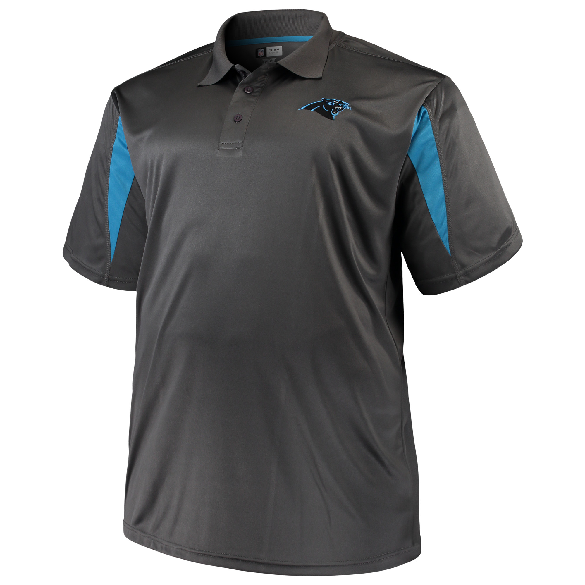 Men's Majestic Charcoal Carolina Panthers Big & Tall Pieced Polo