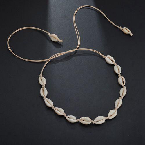 Natural Shell Necklace Green Beads Sea Shell Pendant Chocker Beach Jewelry