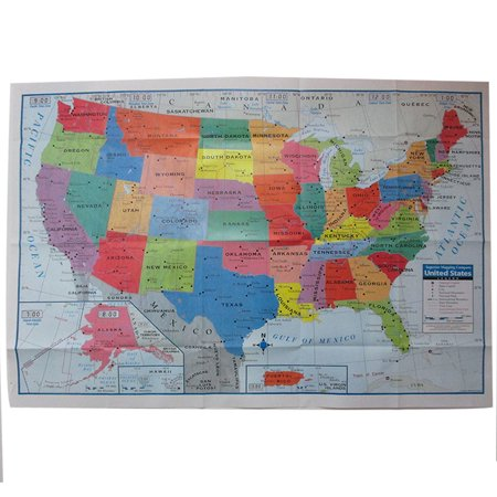 United States Usa Wall Map Poster 40 X28  Multi Color Paper Mural Factory Folded
