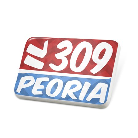 Party City In Peoria Il (Porcelein Pin 309 Peoria, IL red/blue Lapel Badge –)