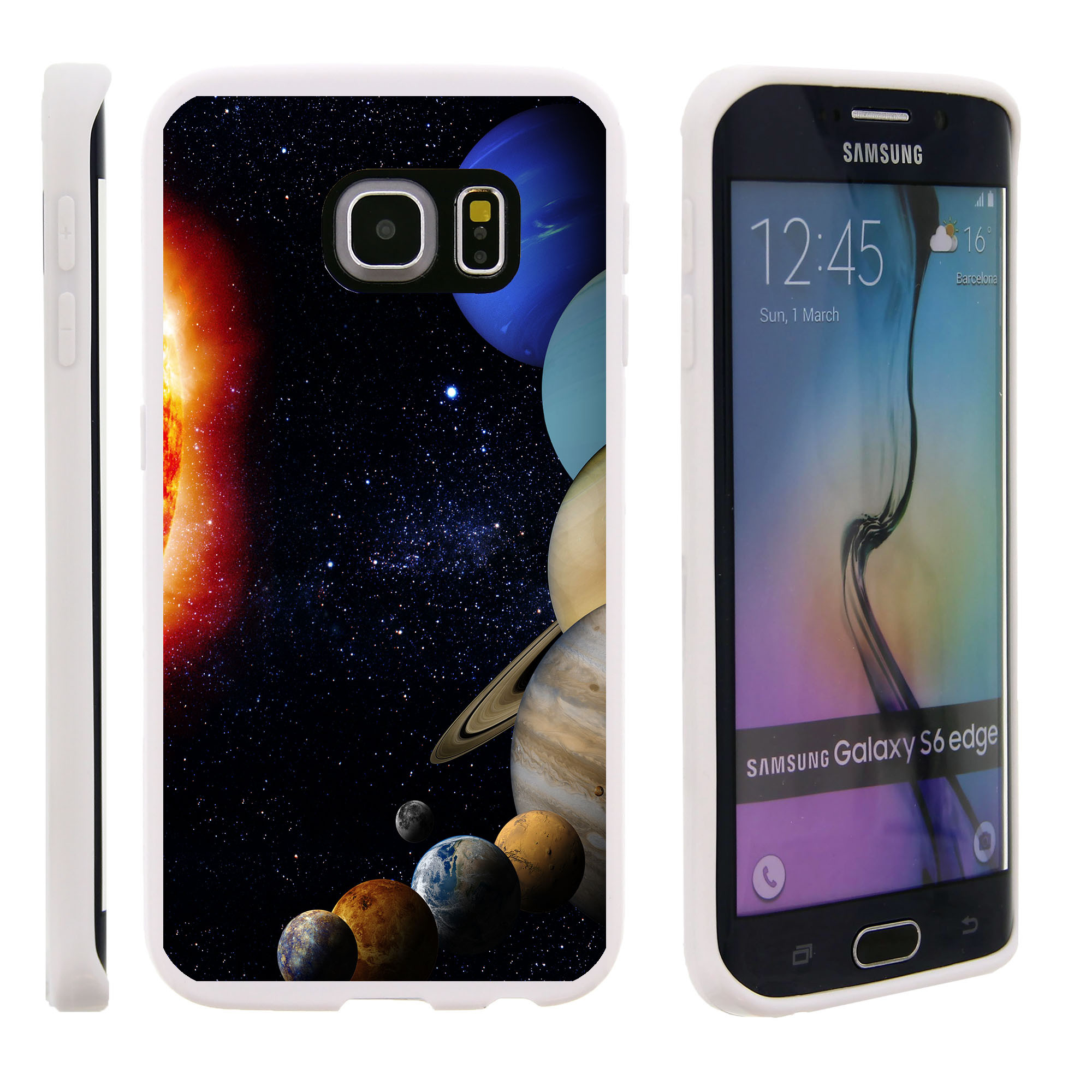 Samsung Galaxy S6 Edge G925, Flexible Case [FLEX FORCE] Slim Durable TPU Sleek Bumper with Unique Designs - Planets Around the Sun