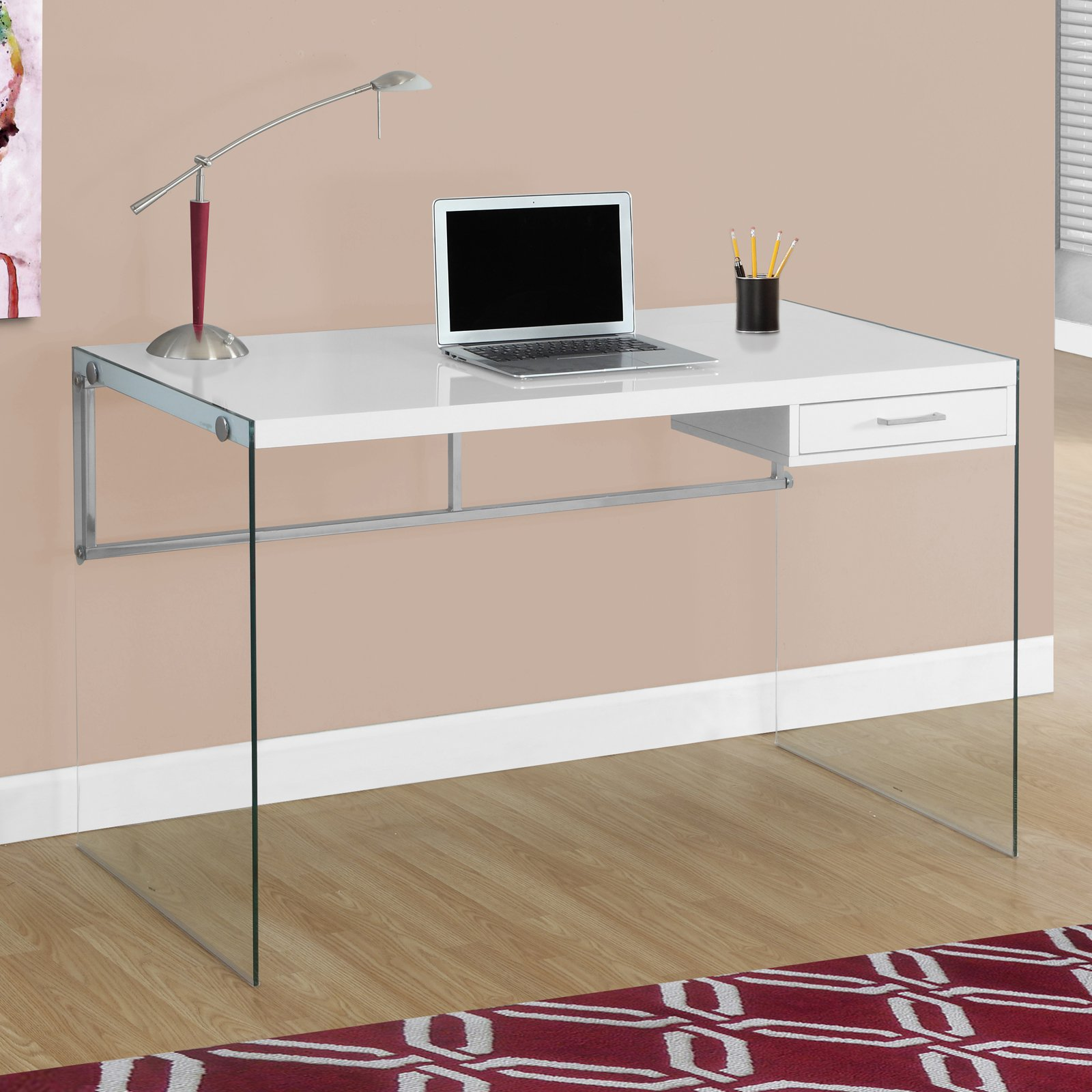 Monarch Computer Desk 48L Glossy White Tempered Glass Walmartcom