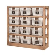"GuildMaster 625060 Locker Baskets 48"" Wide 4 Shelf Wood Bookcase with Numbered S"