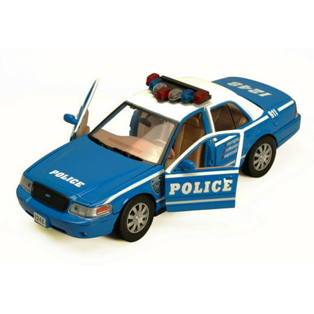 2010 Ford Crown Victoria Police Car, Blue With White Roof - Showcasts 76482 - 1/24 Scale Diecast Model Car (Brand New, but NOT IN BOX) (Brand New but NO BOX)