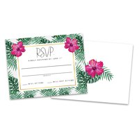Personalized Palm Leaves Wedding RSVP Cards